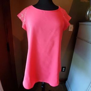 NWT Express neon pink sequined sleeves tunic
